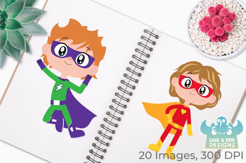 Superhero Boys 2 Clipart, Instant Download Vector Art example image 3