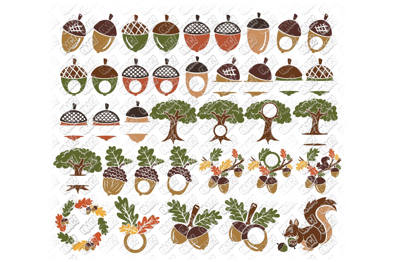 Acorn SVG Oak Tree Leaves in SVG, DXF, PNG, EPS, JPEG example image 1