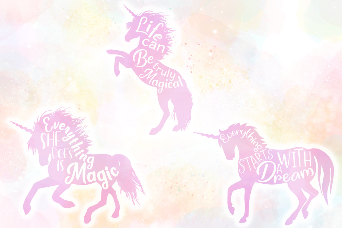 Unicorn Quotes SVG Cut Files Pack example image 5