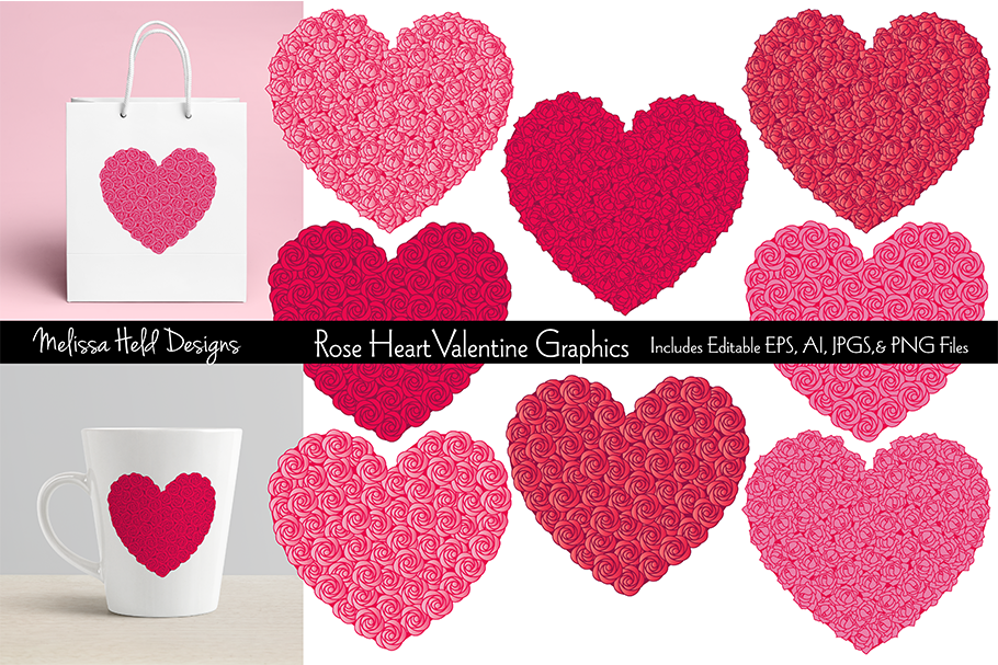 Rose Heart Valentine Graphics example image 1