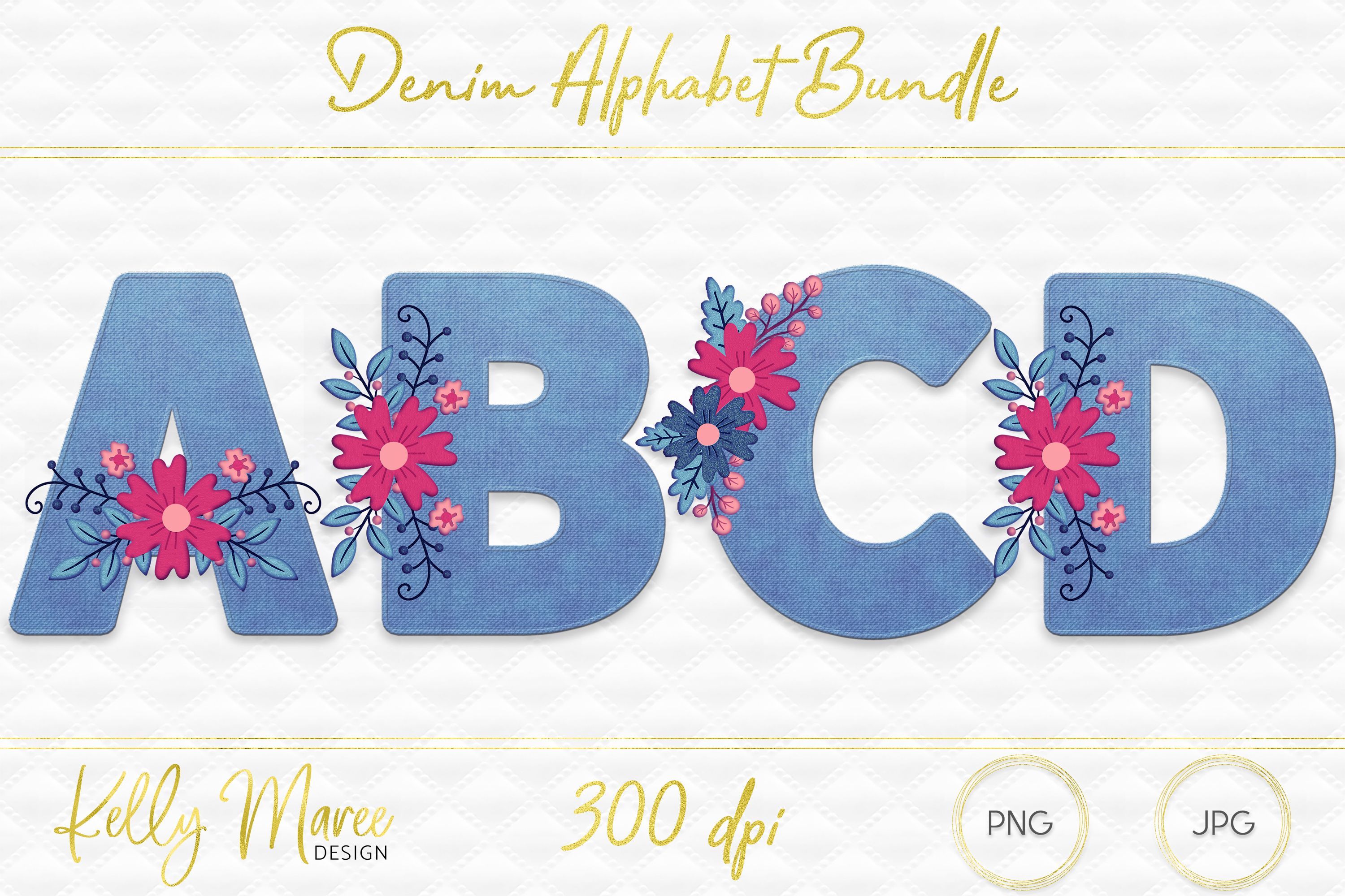 Light Denim & Floral Alphabet Graphic Bundle example image 1