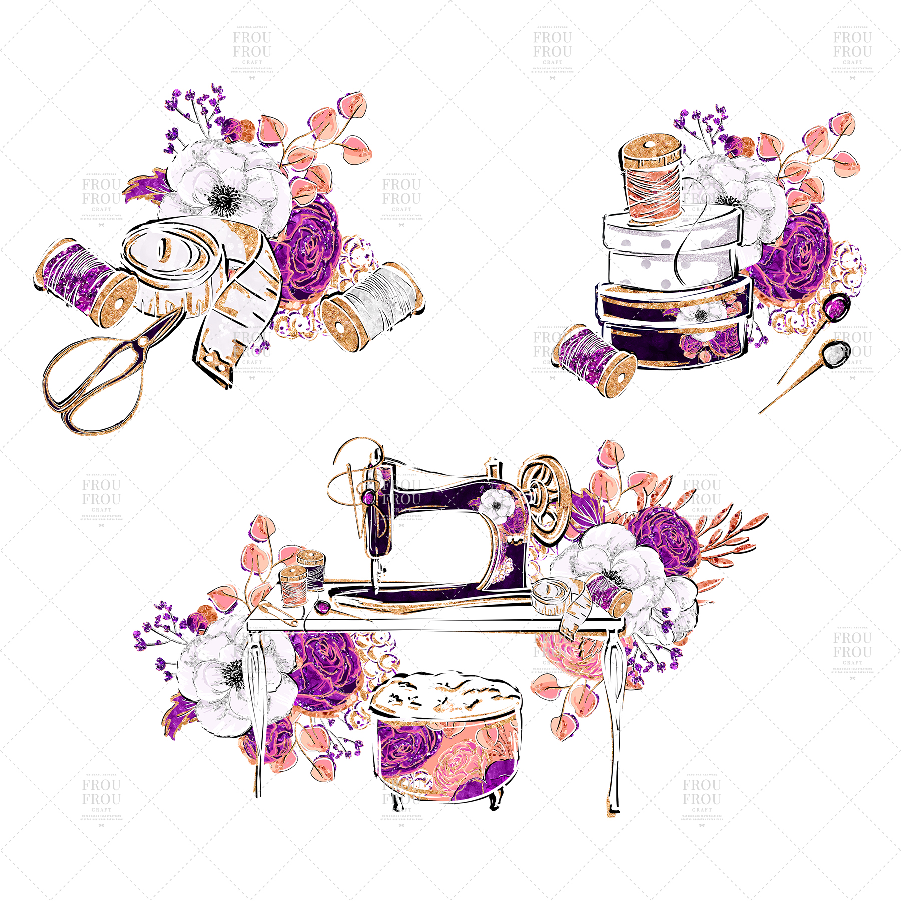 Fashion Designer Sewing Gold Glitter Clip Art example image 8