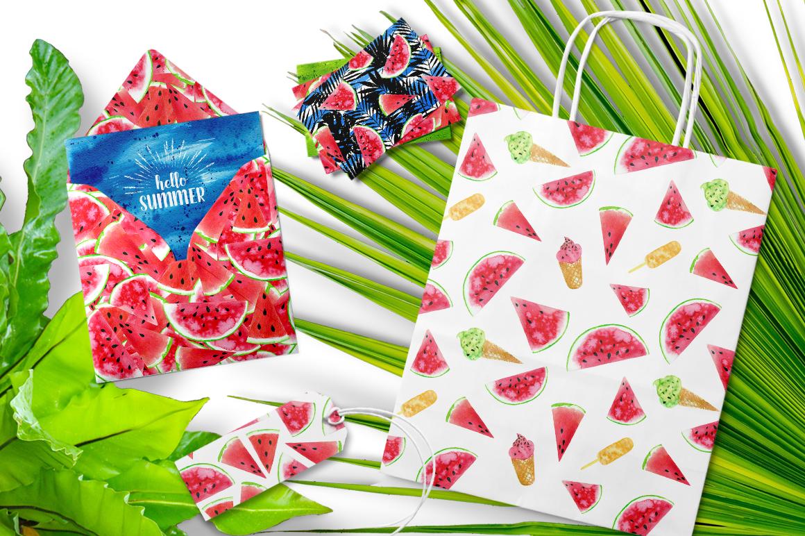 Watercolor Watermelons & Ice-creams example image 2