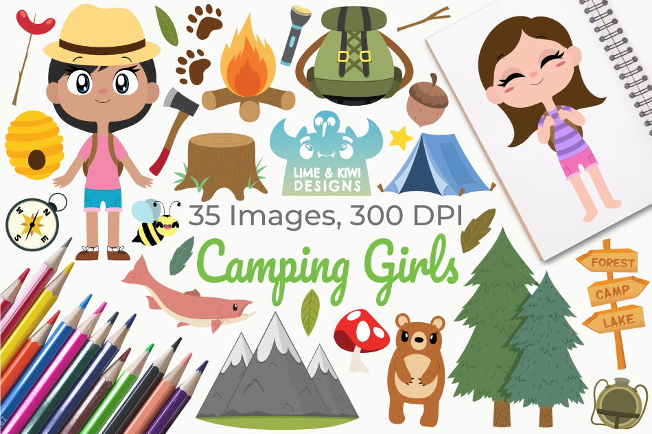 Camping Girls Clipart, Instant Download Vector Art example image 1