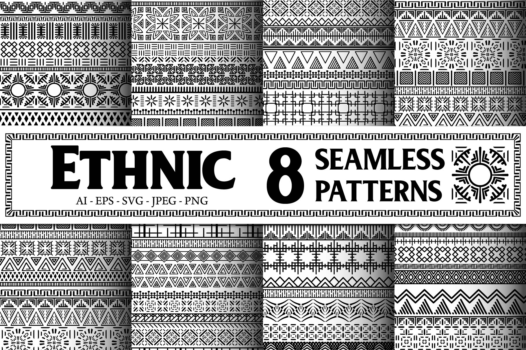 Black and White Ethnic Seamless example image 1