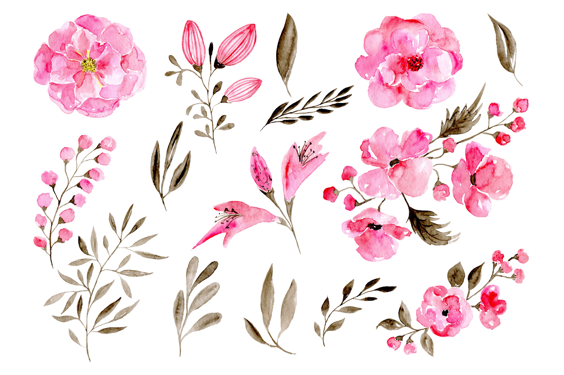 Romantic watercolor flowers example image 2