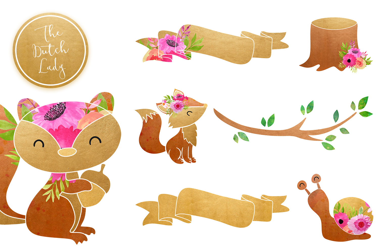 Fox & Forest Clipart Set example image 5