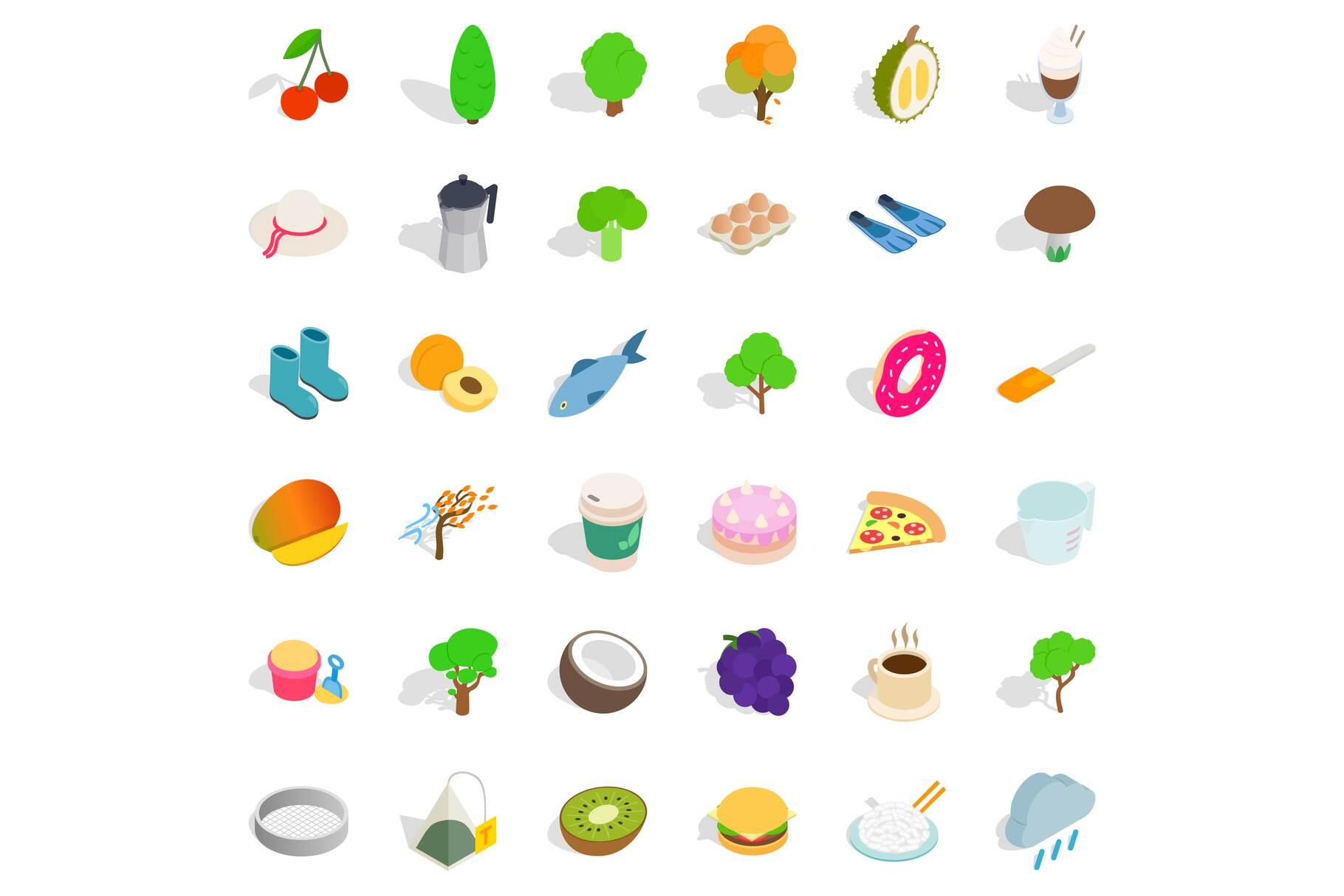 Vegetarian dish icons set, isometric style