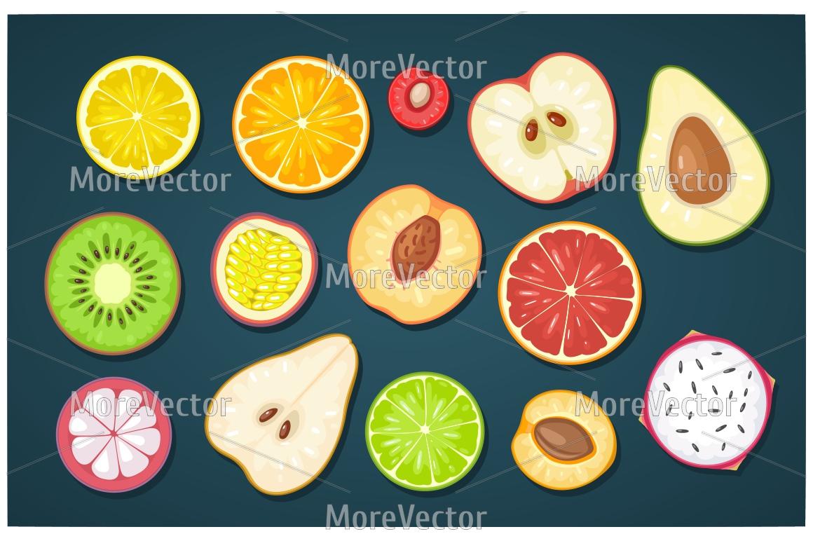 Set slice fruits. example image 2