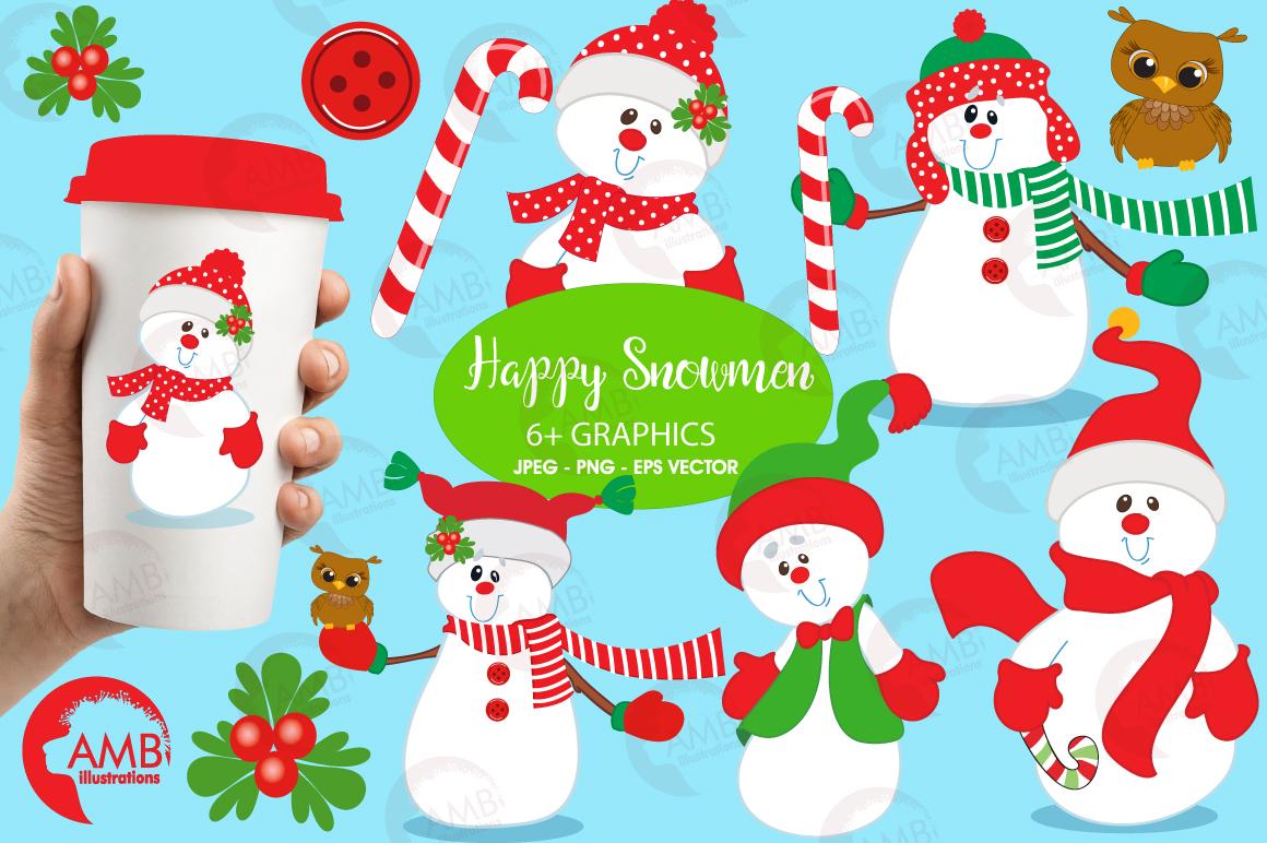 Happy Snowmen clipart, graphics, illustrations AMB-503 example image 1