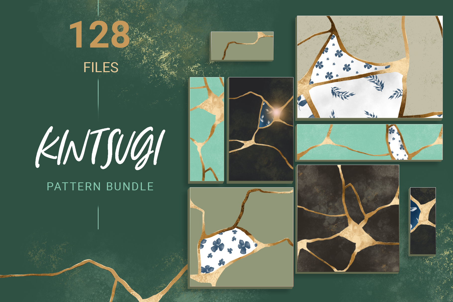 Kintsugi seamless pattern set example image 1