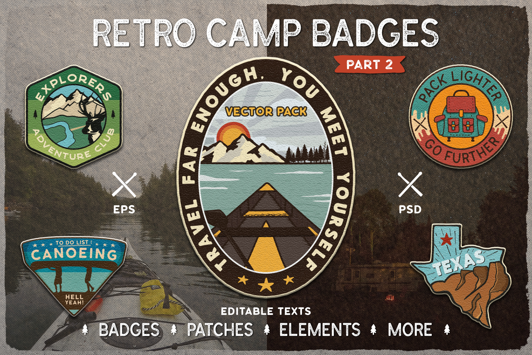 Retro Camp Badges / SVG Patches and Stickers. Part 2 example image 1