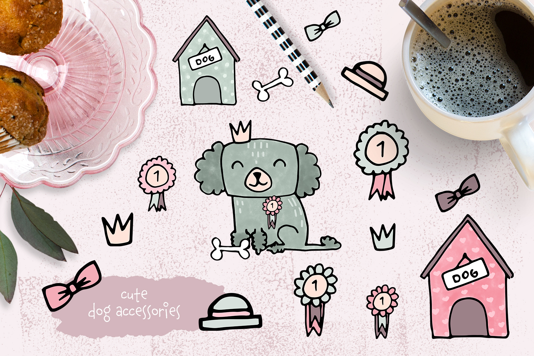 Dog clipart and patterns collection example image 3