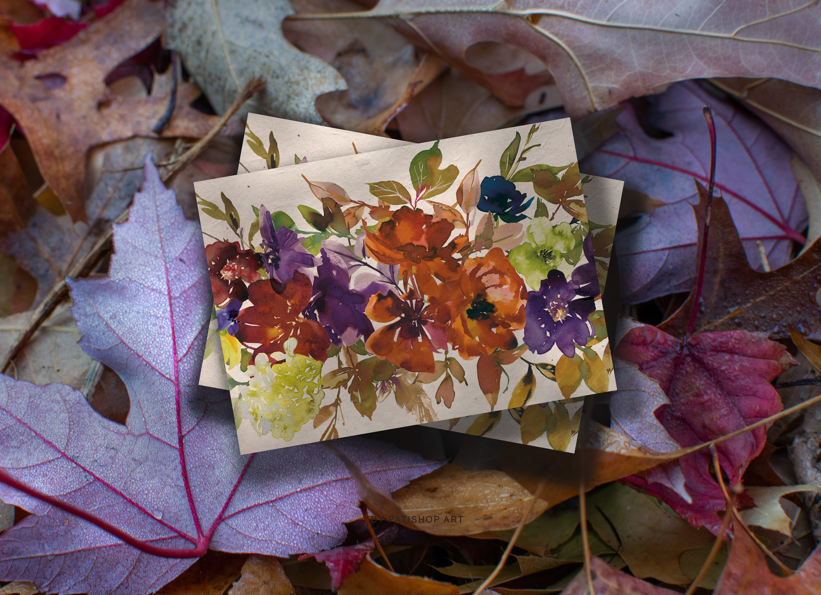 Watercolor Autumn Flowers Clipart & Patterns example image 3