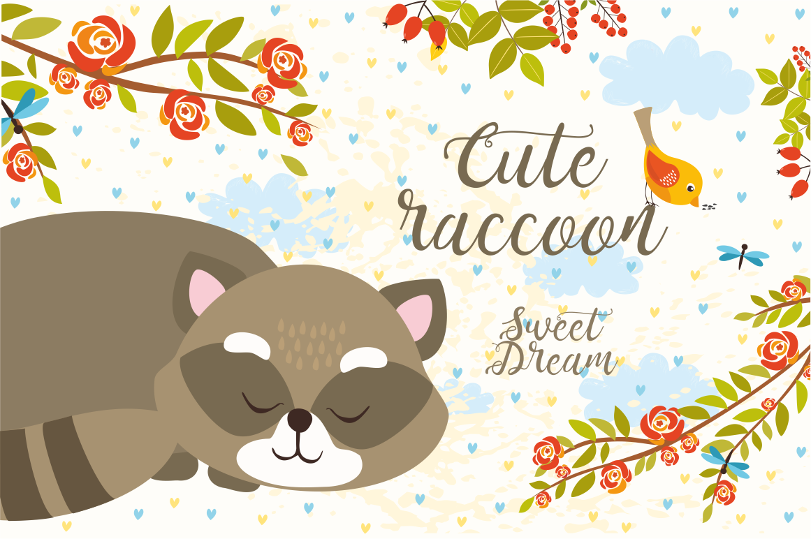 Cute Set Forest Animals and Patterns example image 2