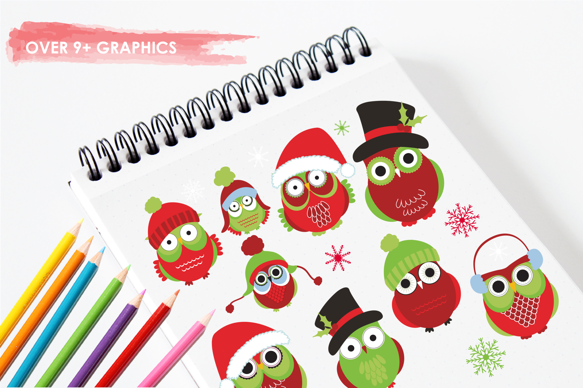 Christmas Owls graphics and illustrations example image 3