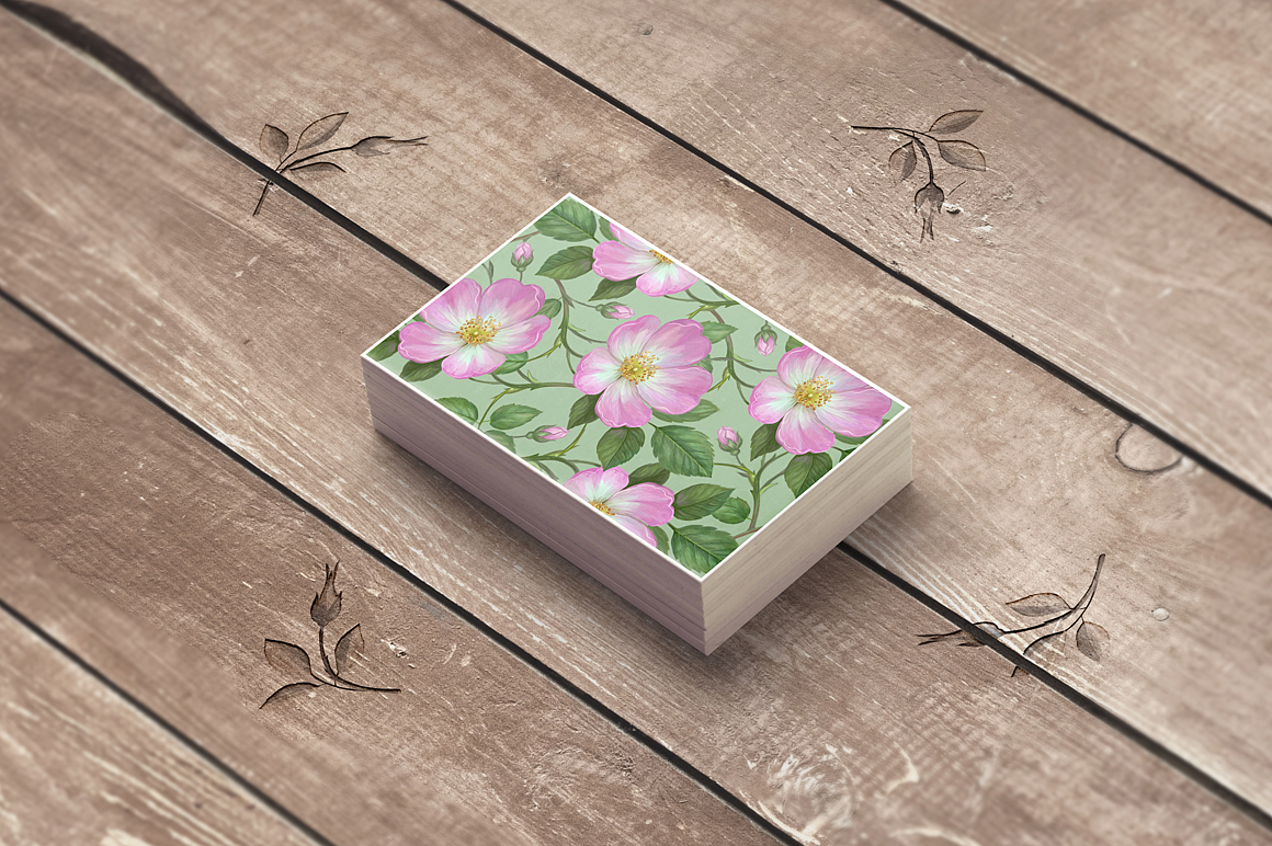 Pink Wild Rose PSD Business Card Template example image 3