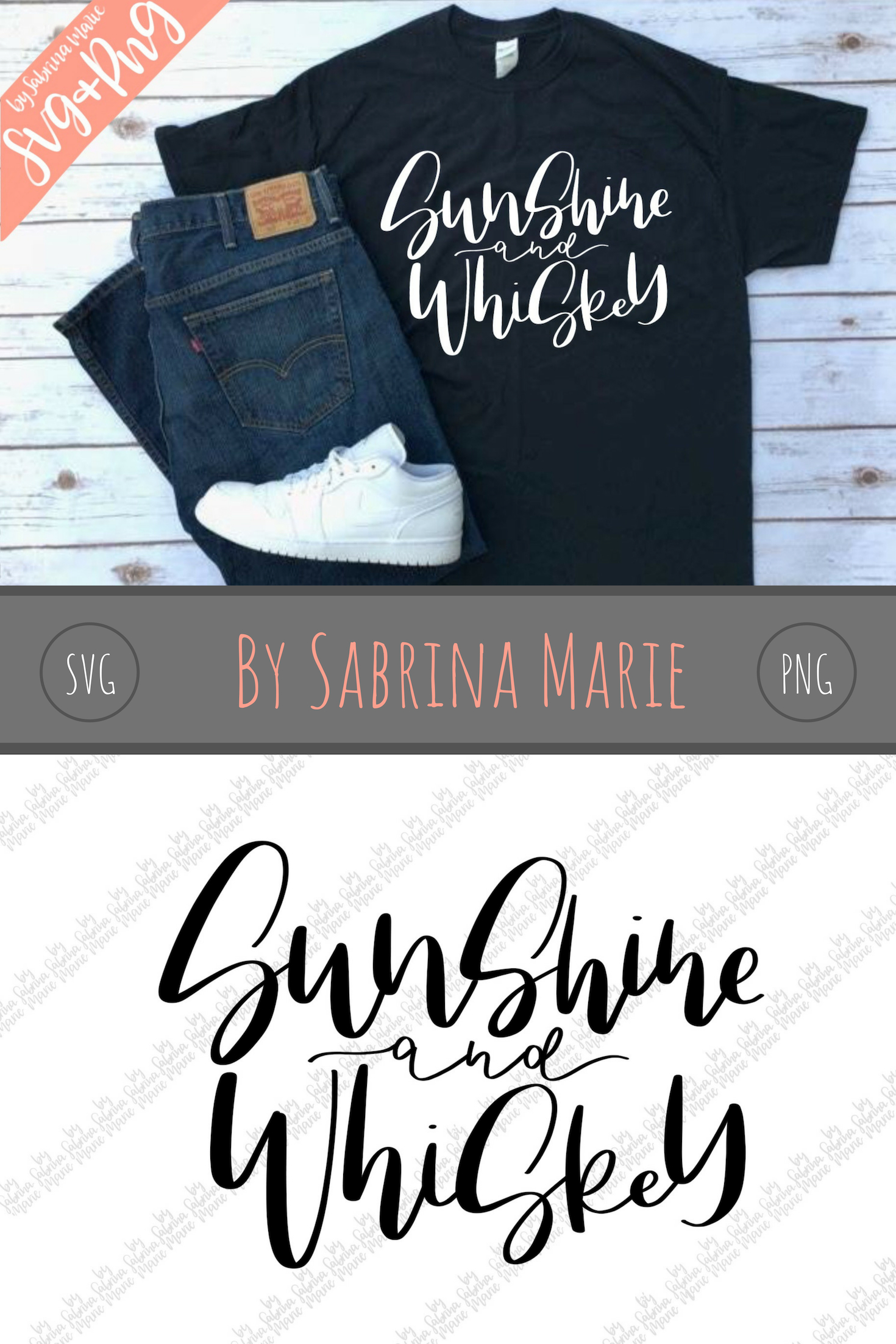 Sunshine and Whiskey Quote|Handdrawn|Cut File|SVG|PNG example image 3