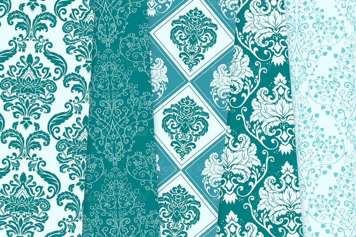 28 Teal Damask Patterns - Seamless Digital Papers Bundle example image 7