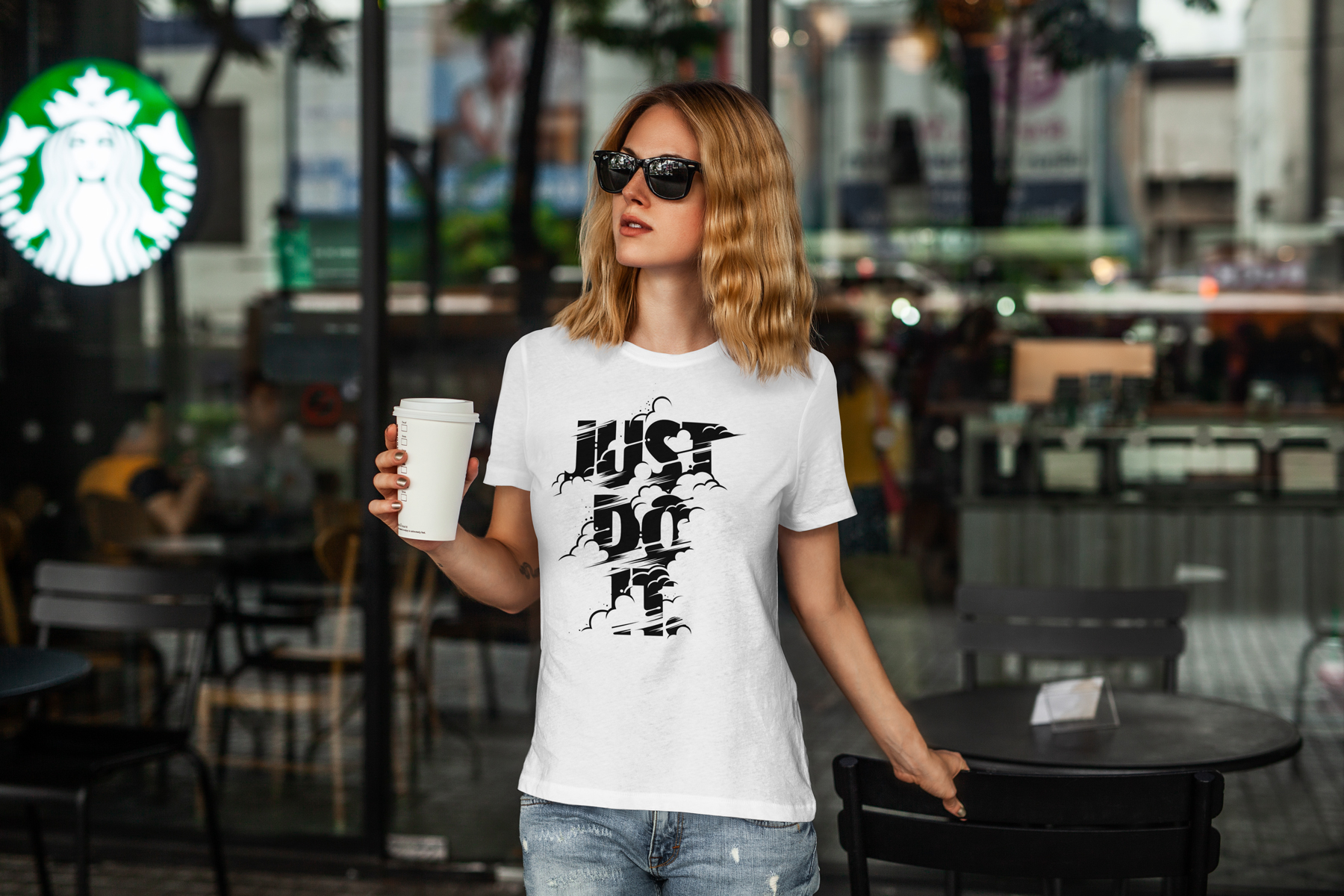 T-Shirt Mock-Up's Casual Girl example image 4