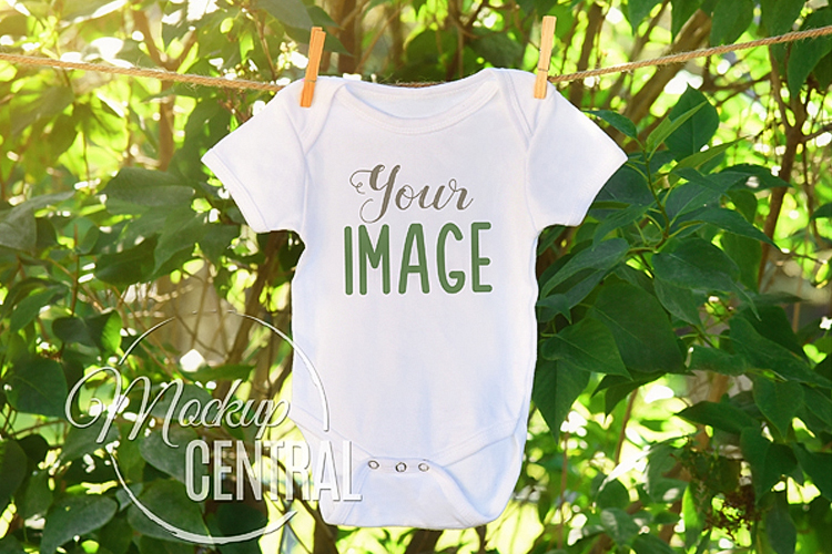 Baby Onepiece Bodysuit Green Nature Outdoor Mockup Shirt example image 1