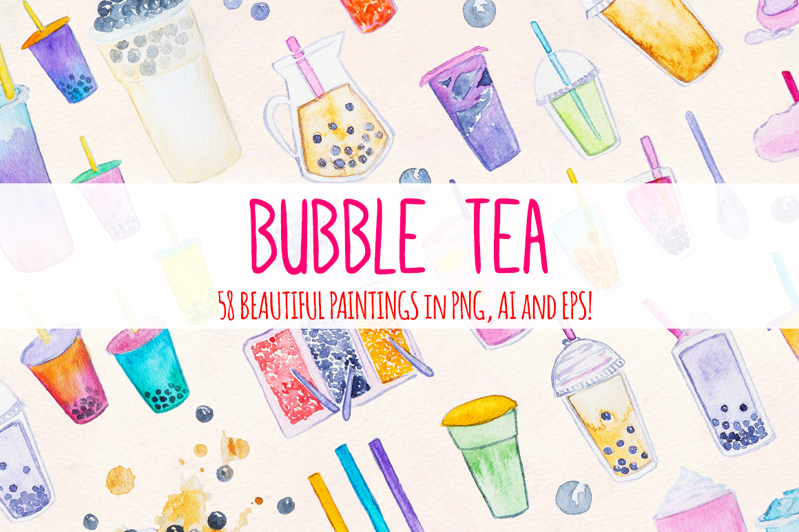 58 Bubble Tea Watercolor Graphics Paintings example image 1