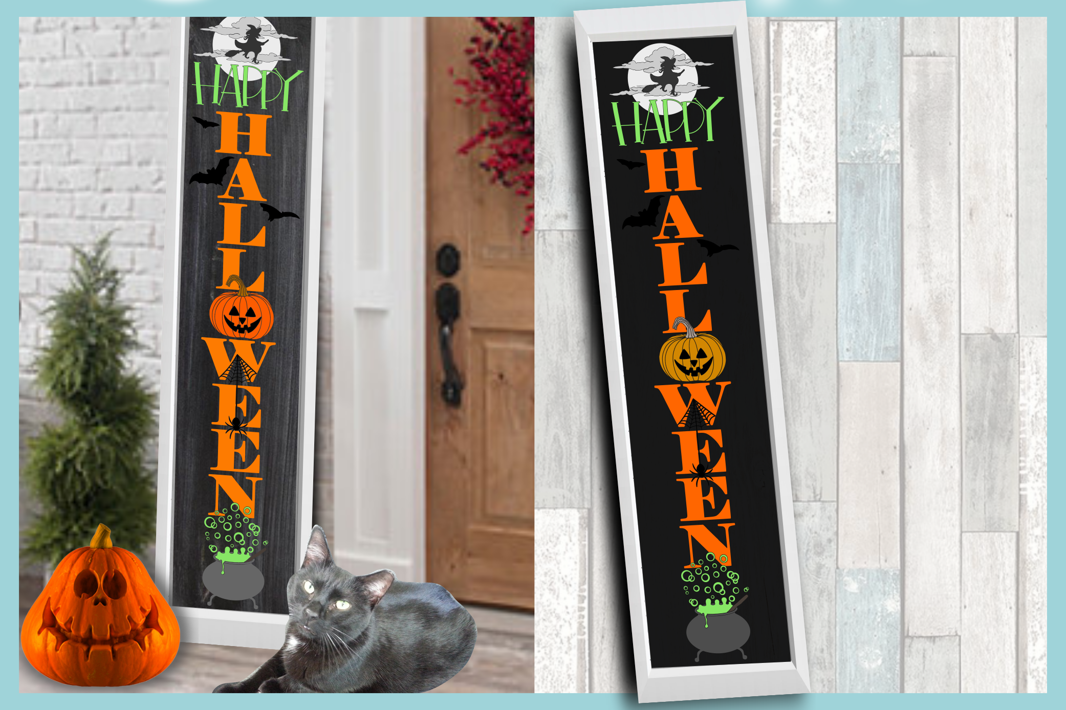 Holiday Tall Vertical Front Porch Sign Bundle SVG example image 8