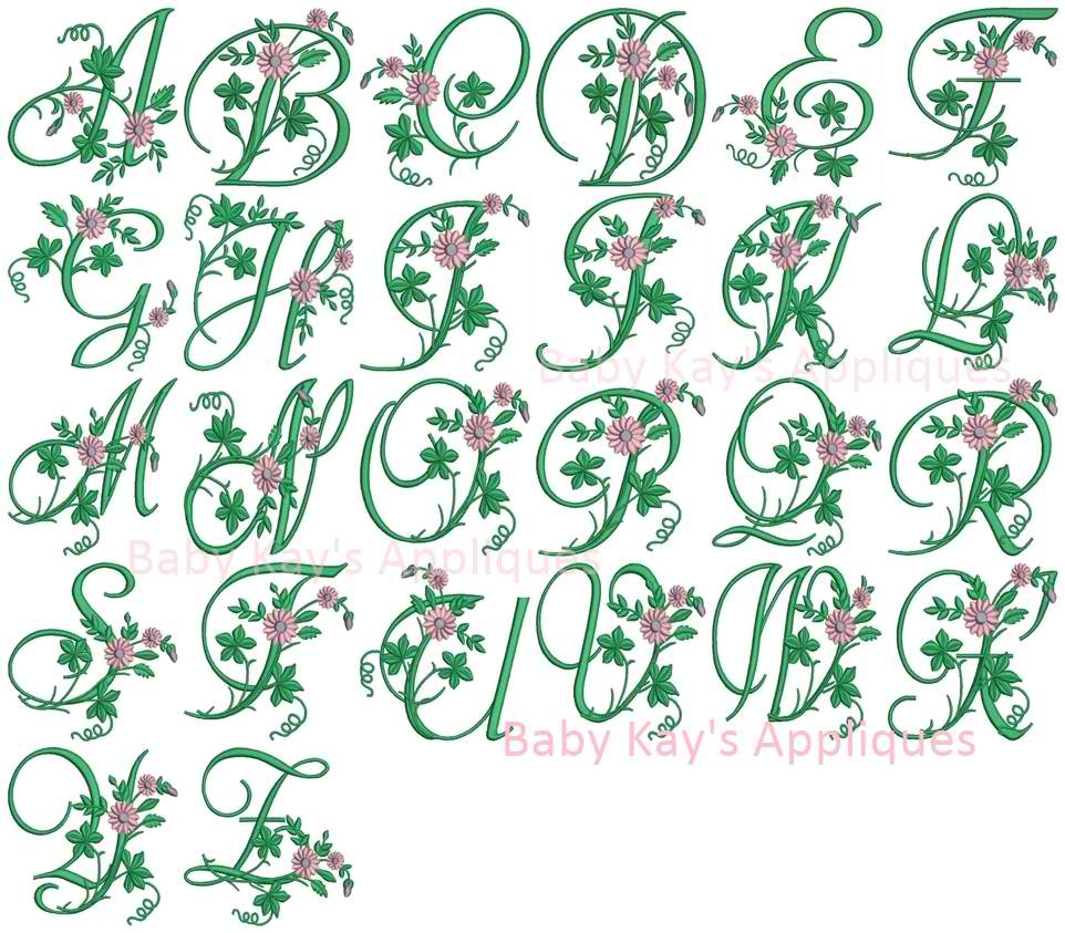 Blooming Floral Embroidery Font A-Z  example image 2