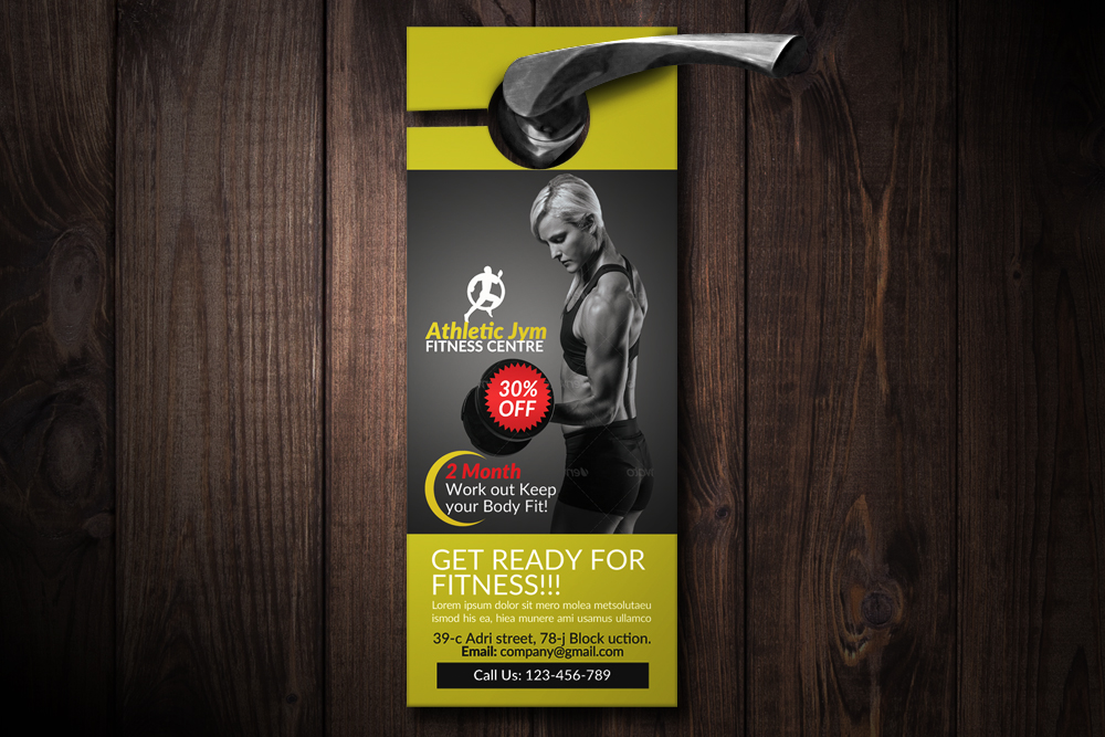 Body Fitness Club Door Hangers example image 1