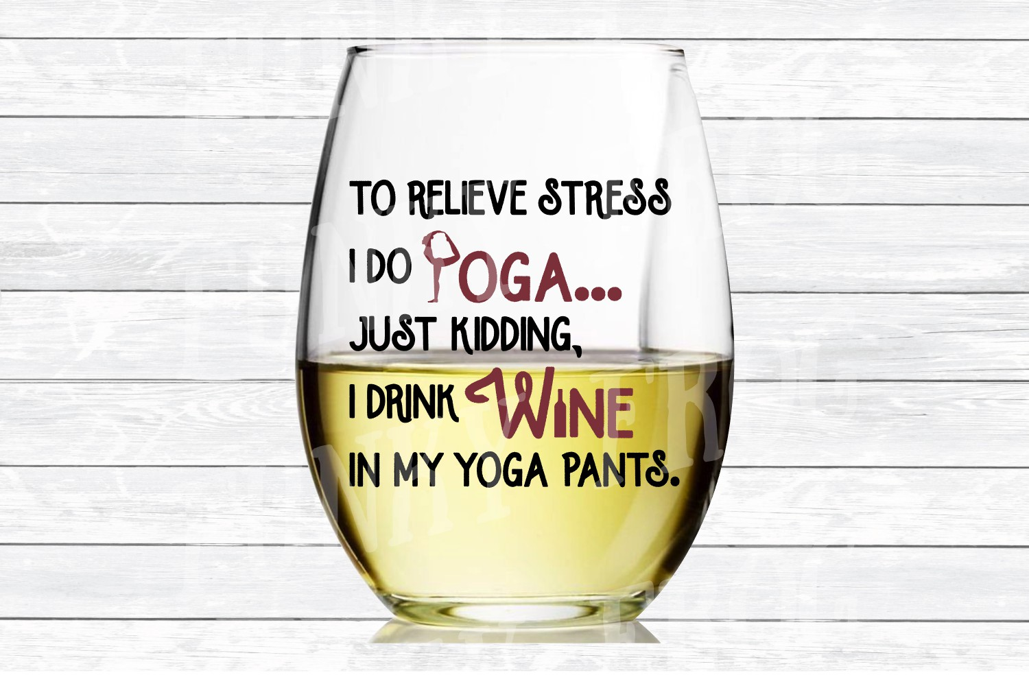To Relieve Stress I Do Yoga - Wine SVG Cut File for Crafters example image 3