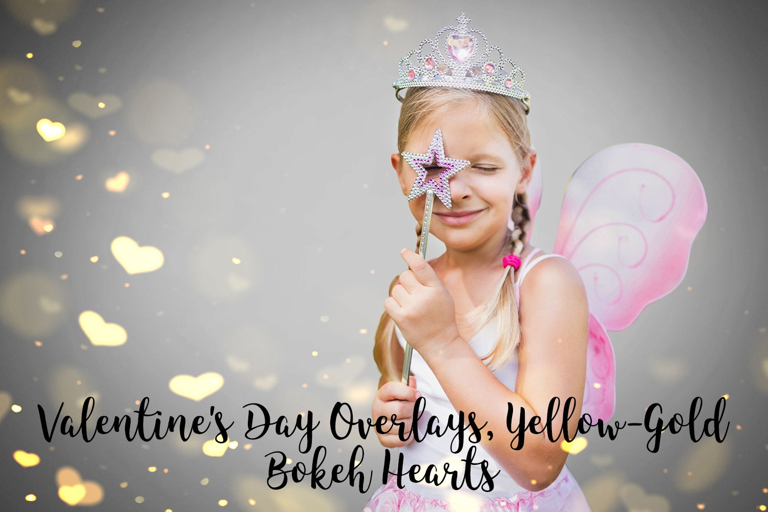 Valentine's Day Overlays, Yellow Gold Hearts Bokeh Overlays example image 9