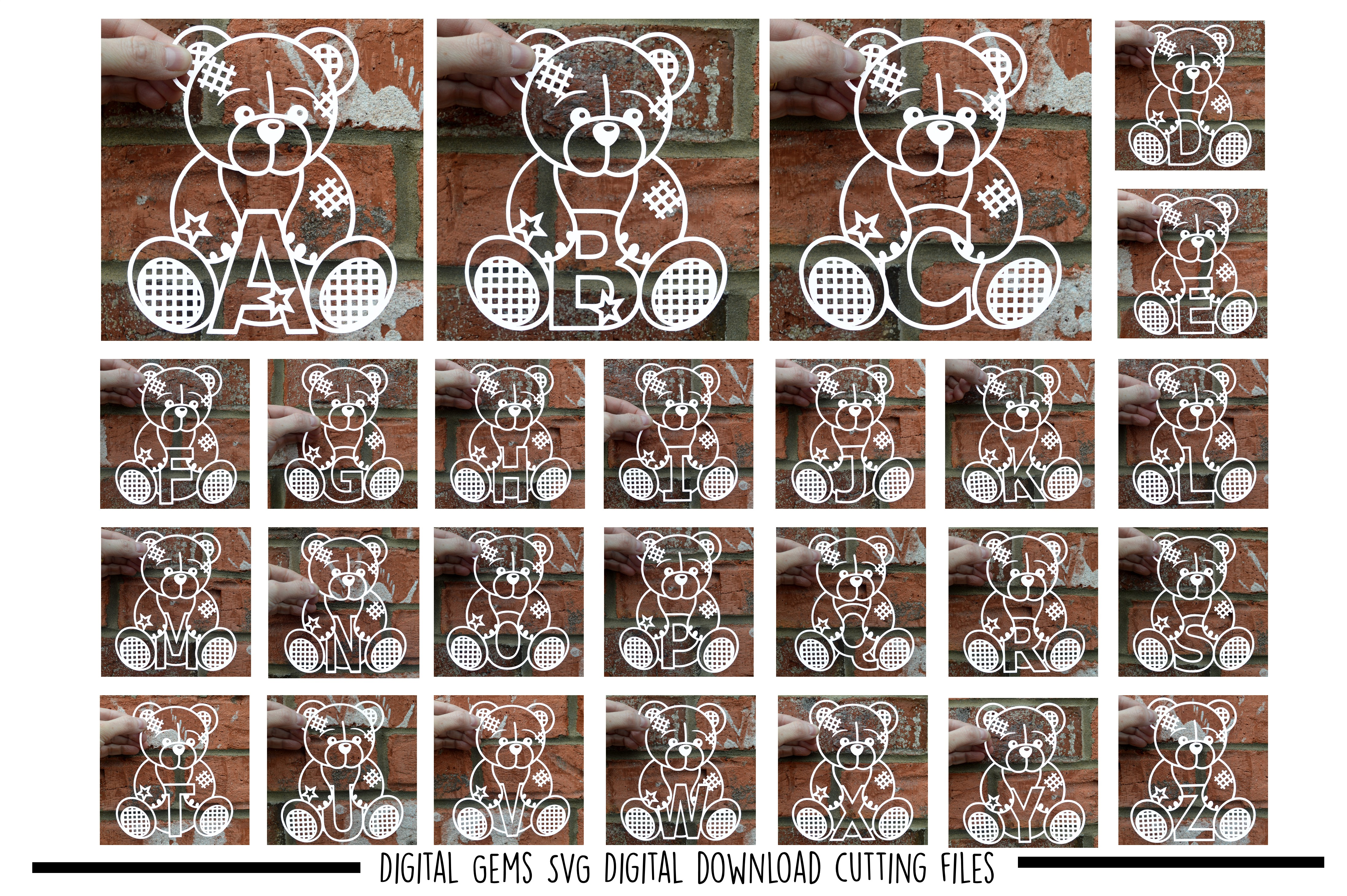 Alphabet teddy bear paper cuts SVG / DXF / EPS files example image 1