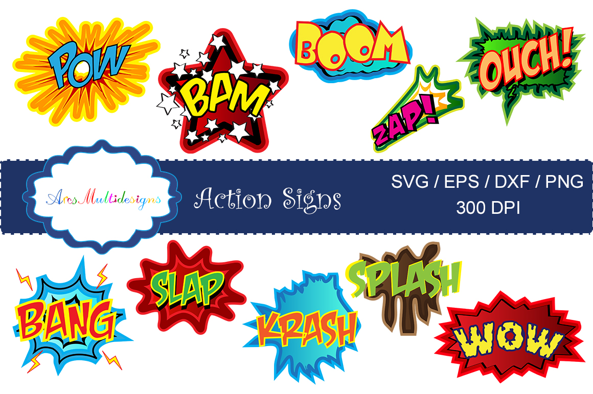 action signs svg vector clipart / action sign silhouette / zap clipart / bang clipart / pow clipart / boom clipart /pop art / comic book example image 5