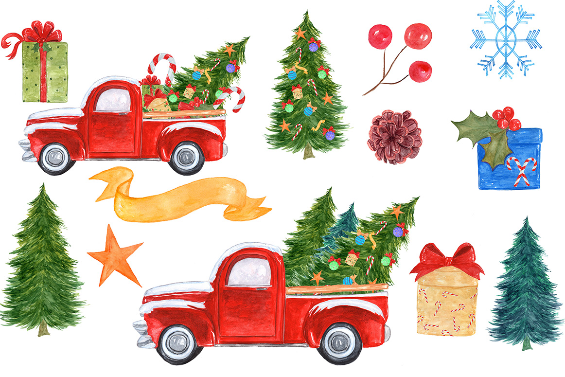 Watercolor Christmas truck clipart example image 3