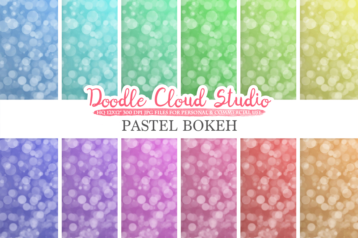 Bokeh digital paper, Pastel colors Bokeh Overlay, Bokeh backgrounds, Instant Download, for Personal & Commercial Use example image 2