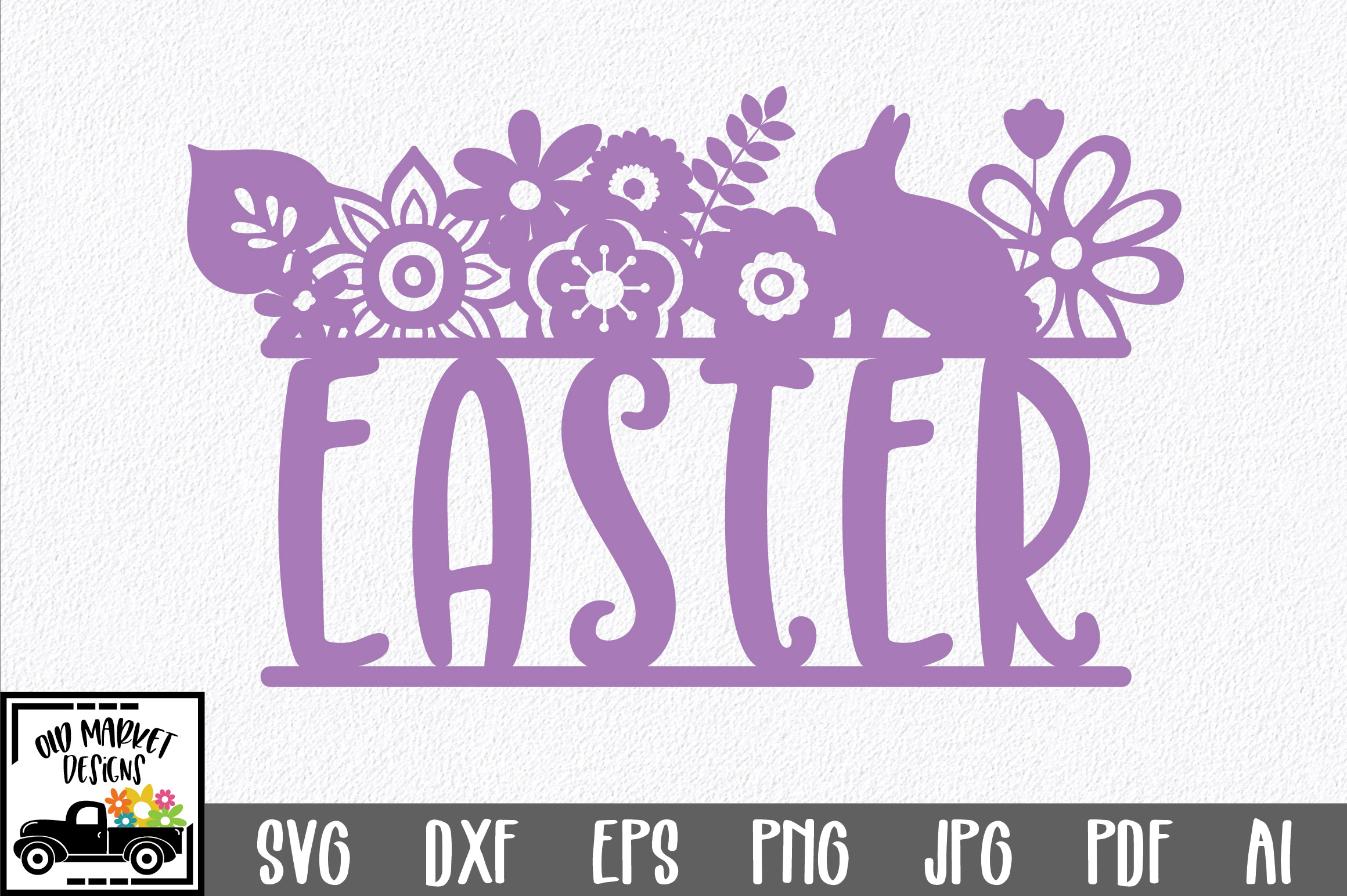 Easter SVG Cut File - Easter Floral SVG DXF EPS PNG AI example image 1