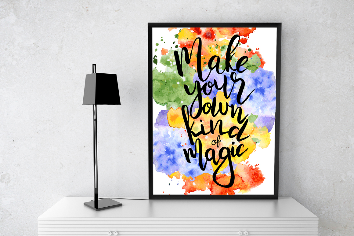 Hand drawn watercolor Inspirational quotes DIY pack example image 13