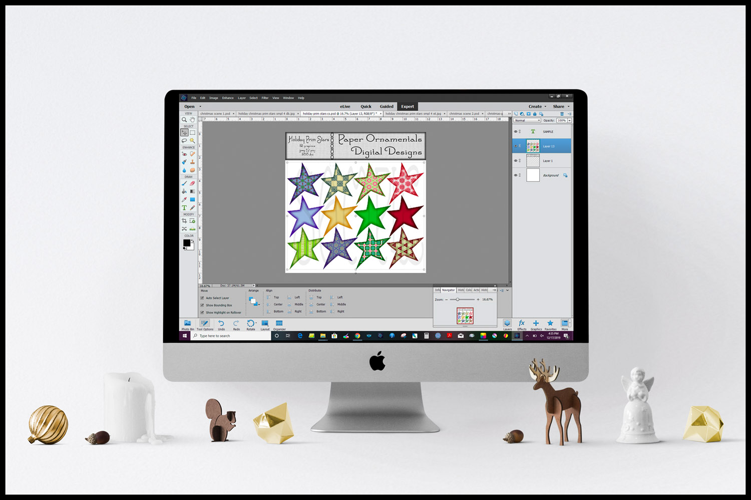 Christmas Clip Art, Holiday Primitive Stars example image 6