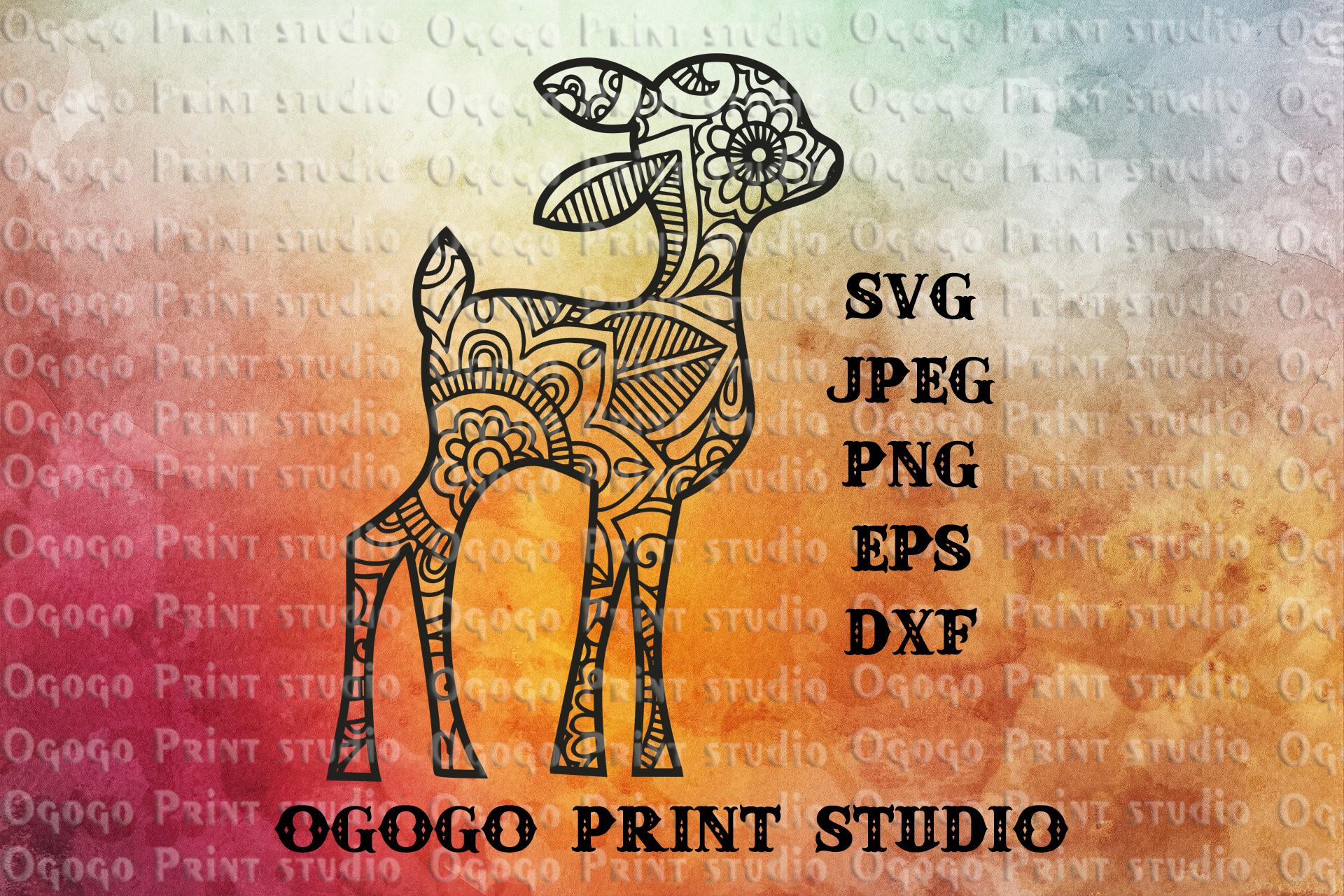 Fawn SVG, Zentangle Svg, Woodland Animal svg, Deer SVG example image 1