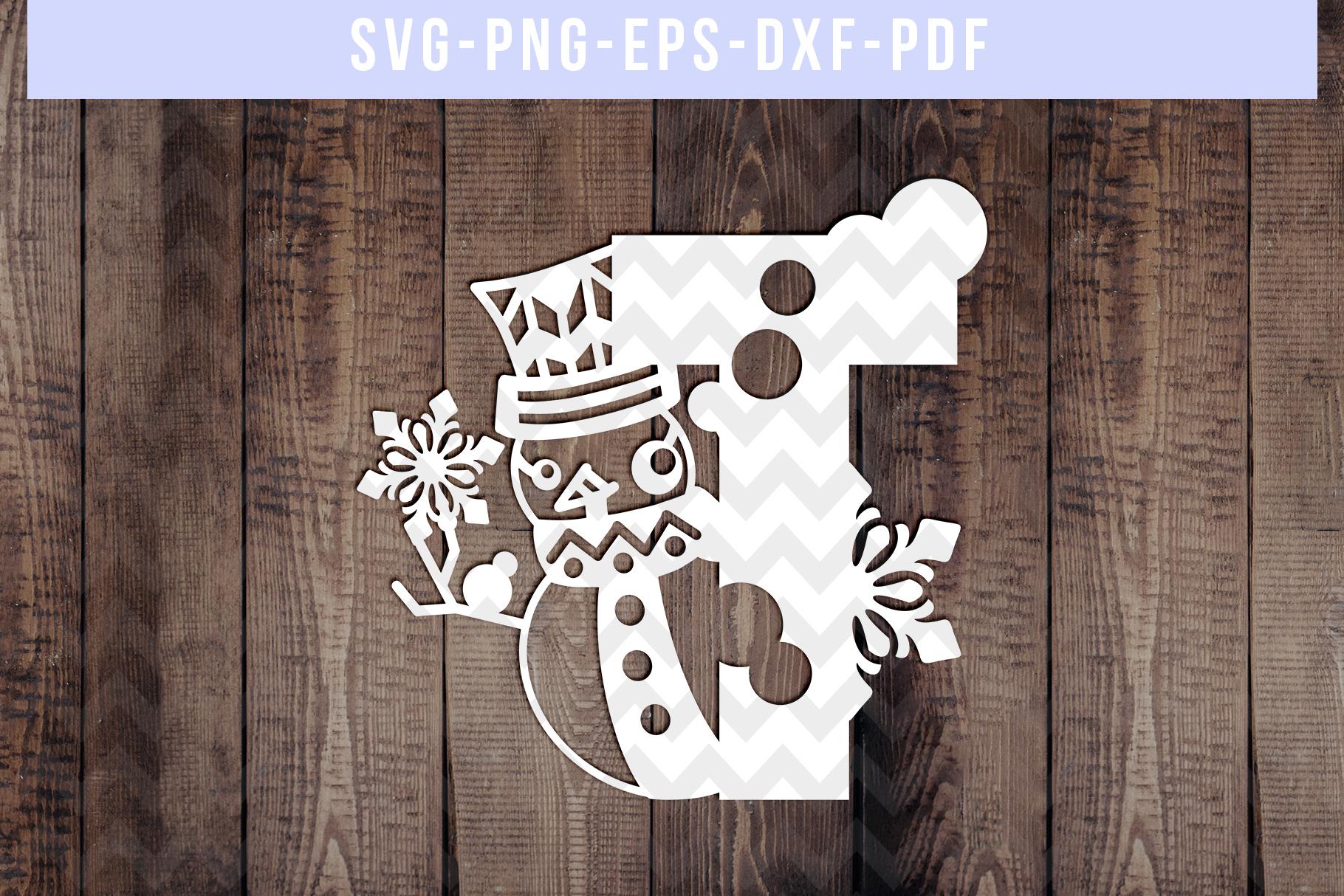Bundle Of 26 A-Z Snowman Alphabet Papercut Templates, SVG example image 21