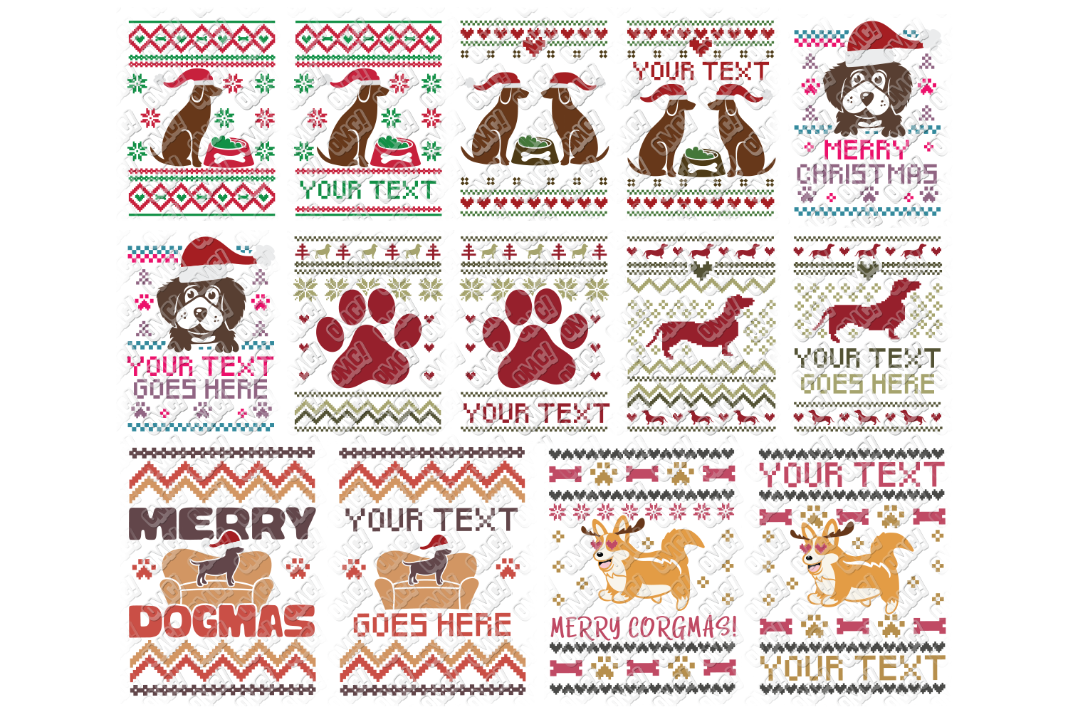 Dog Ugly Christmas SVG Template in SVG, DXF, PNG, EPS, JPG example image 1