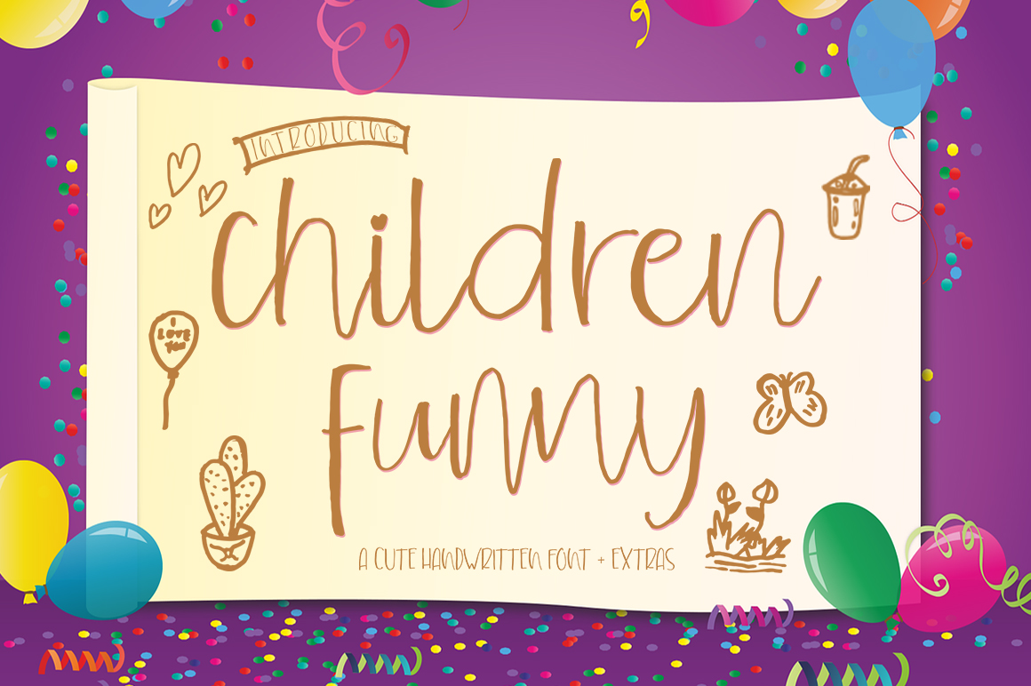 Children Funny Cute Handwritten Font With Extras example image 1