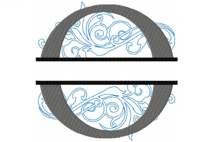 O Split Monogram Embroidery Font example image 1