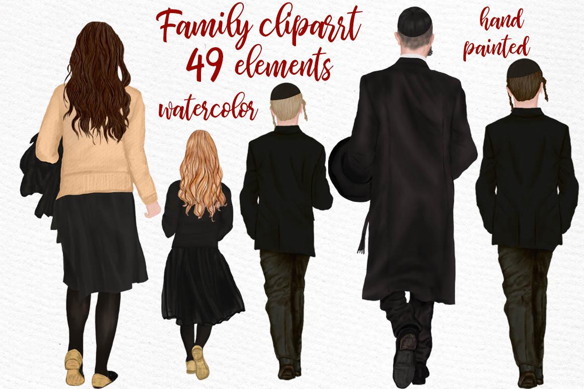 Family clipart, Jewish Family clipart, Yarmulkes clipart example image 1