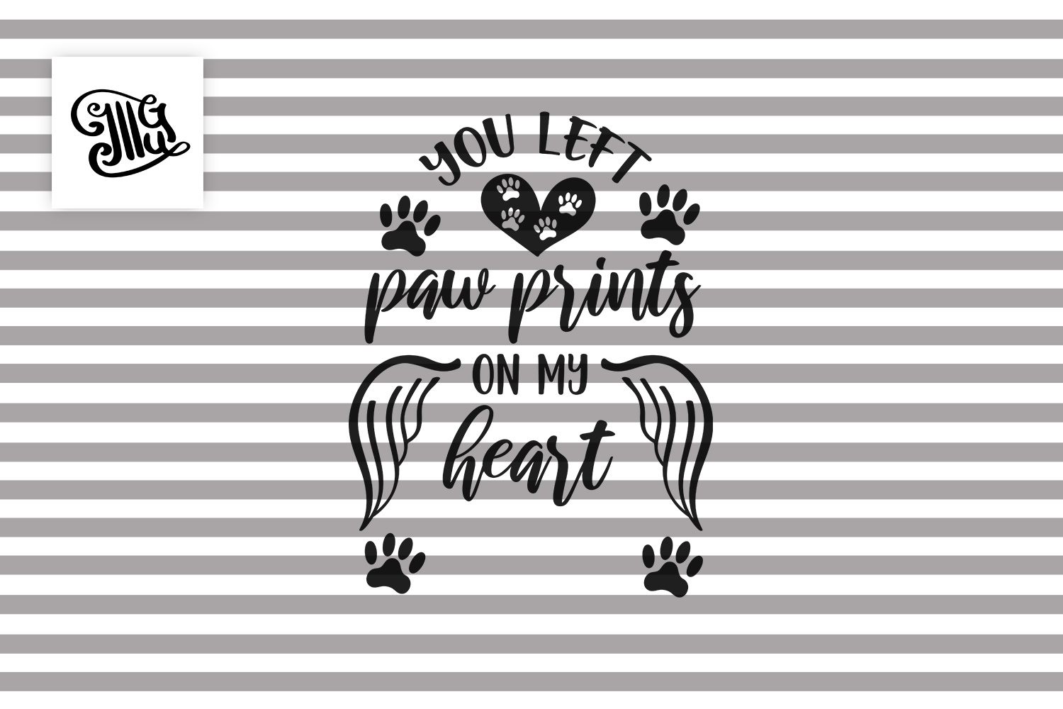 You left paw prints on my heart - Pet, cat, dog Memorial example image 2