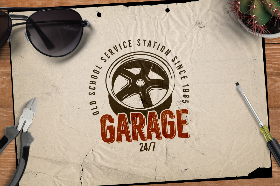 Garage - Car Service Emblem / Retro Logo example image 3