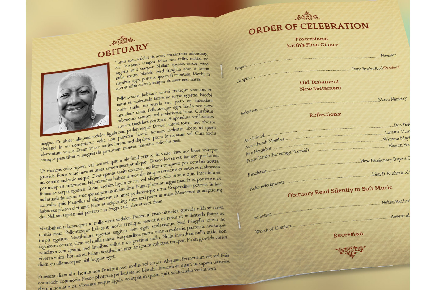 Home Going Funeral Program Template example image 3