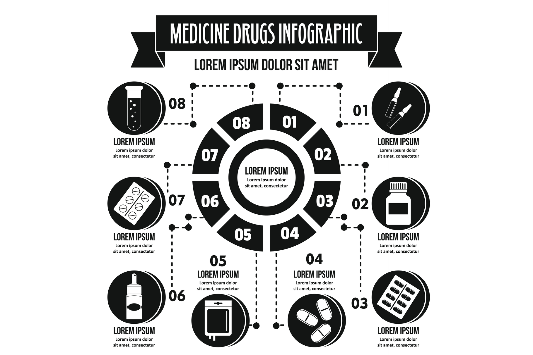 Medicine drugs infographic concept, simple style example image 1