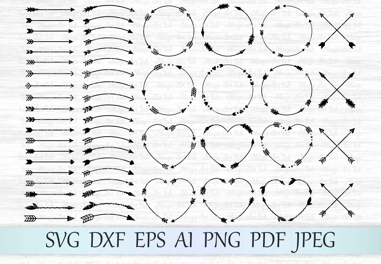 Arrows svg, Circle monogram svg, Circle frame arrow, Heart frame, Criss cross arrows, Tribal arrows svg, Boho arrows clipart, Ethnic aztec example image 1