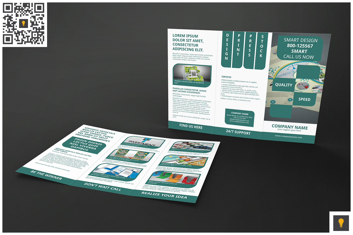 Corporate Rounded Geometric Trifold example image 5